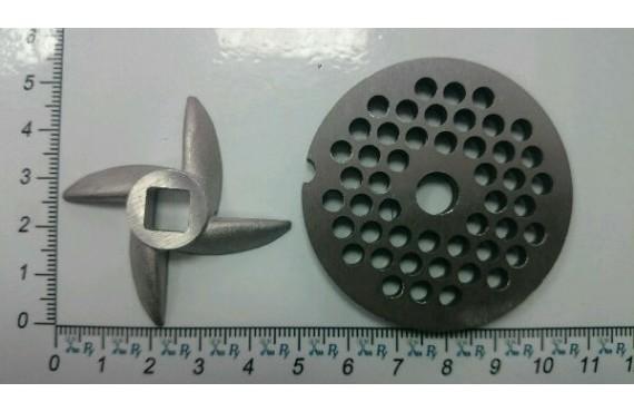 Комплект для мясорубки ХОЗЯЮШКА нож 'сабля' и решётка стальная (10143)