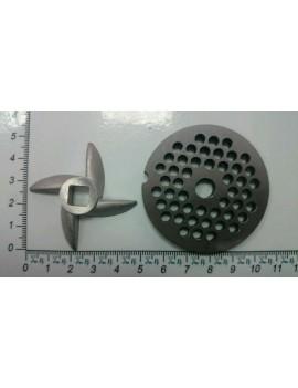 Базовый набор мясорубки СЕРАФИМА нож 'серп' и решётка сталь (10143)